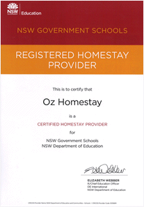 Oz Homestay DEC Certificate